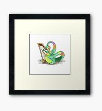Illustration of a Plateosaurus playing the harp. Framed Print
