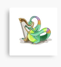Illustration of a Plateosaurus playing the harp. Canvas Print