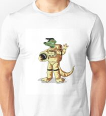 Illustration of an Iguanodon dressed in a cosmonaut spacesuit. T-Shirt