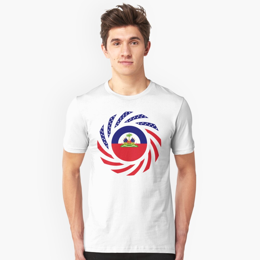 Haitian American Multinational Patriot Flag Series Unisex T-Shirt Front