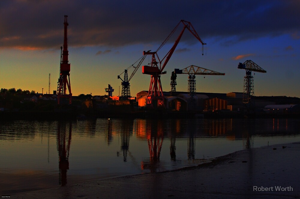 River Tyne Cranes by Robert Worth