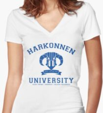 Harkonnen University | Blue Women's Fitted V-Neck T-Shirt