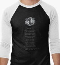 Gray Jedi Gray Lettering  Men's Baseball ¾ T-Shirt