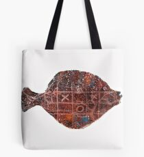 Noughts and crosses on the fish, orange, blue, red, white, black Tote Bag