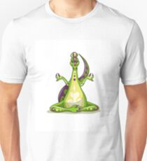Illustration of an Iguanodon dinosaur doing yoga. Unisex T-Shirt