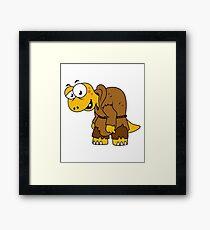 Cartoon illustration of a dinosaur hunchback. Framed Print