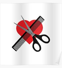 scissors & comb & heart Poster