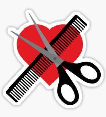 scissors & comb & heart Sticker