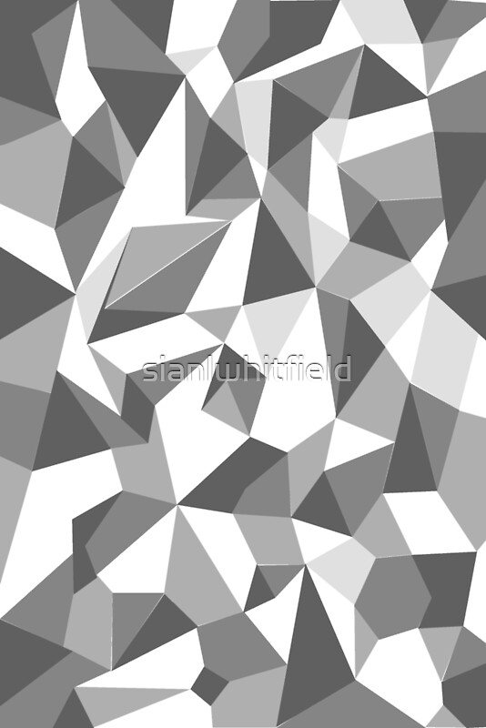 Repeat Angular Pattern 'Low Poly' Greyscale Greeting Cards By Custom Angular Pattern