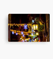 Shop-window and street decoration of Strasbourg before Christmas, prepare for holidays Canvas Print