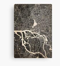 Hamburg map ink lines 2 Metal Print