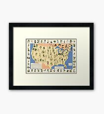 1932 Medicinal Plant Map of the United States. Amazing map of 'Herbal Cures' Framed Print
