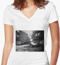Black and white mx-5 Women's Fitted V-Neck T-Shirt