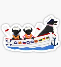 Nautical Preppy Dogs - Black Lab Sticker