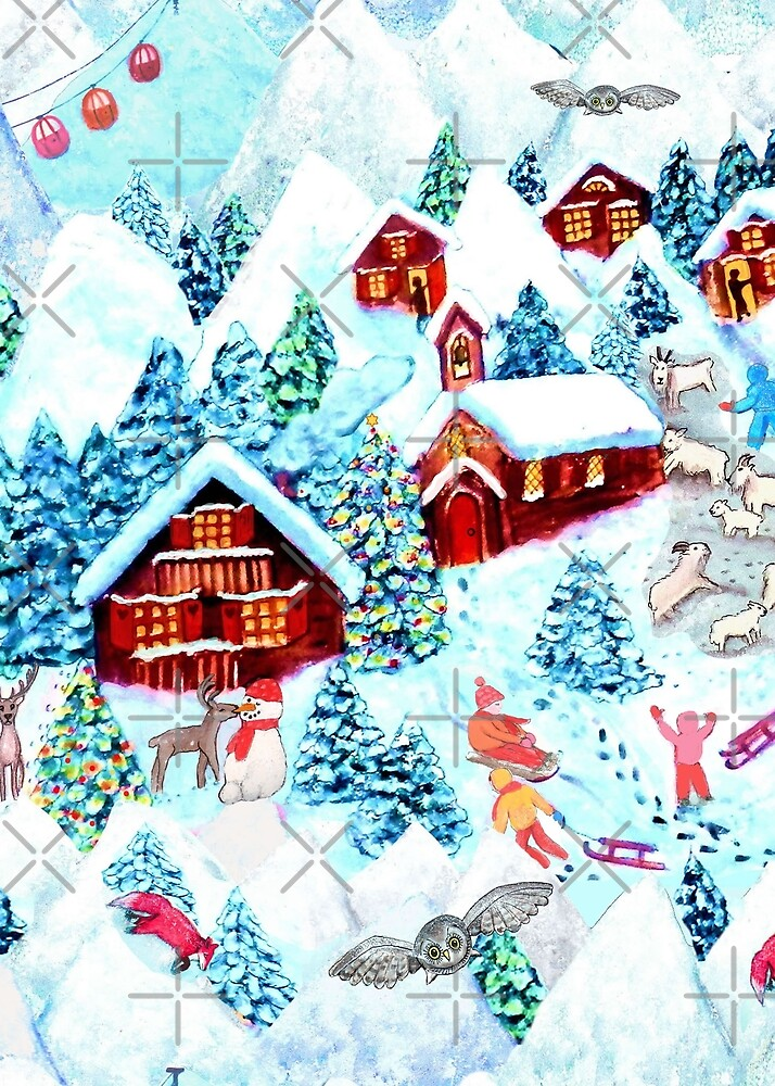 Christmas Alpine Village  watercolor painting with kids, reindeer, owls, mountains, mountain goats, kids and christmas trees by MagentaRose