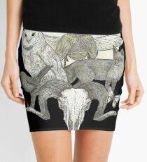 Moonlight Creeping (Skull, owl, moon, fox, blackbird and skull art) Mini Skirt