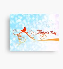 Happy Mother's Day Perched Bird on Branch Canvas Print