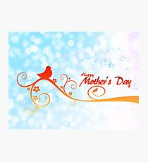 Happy Mother's Day Perched Bird on Branch Photographic Print