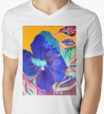 Birthday Acrylic Blue Orange Hibiscus Flower Painting with Red and Green Leaves T-Shirt
