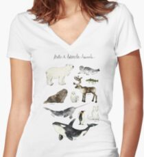 Arctic & Antarctic Animals Women's Fitted V-Neck T-Shirt
