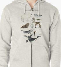 Arctic & Antarctic Animals Zipped Hoodie