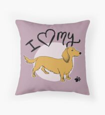 I Love My Long Haired Dachshund Sausage Dog Throw Pillow