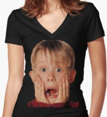 Macauly Culkin From Home Alone Women's Fitted V-Neck T-Shirt
