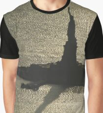Aerial View, Statue Of Liberty and Shadow, One World Observatory, World Trade Center Observation Deck, Lower Manhattan, New York City Graphic T-Shirt
