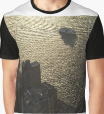 Aerial View, Boat and Hudson River, One World Observatory, World Trade Center Observation Deck, Lower Manhattan, New York City Graphic T-Shirt