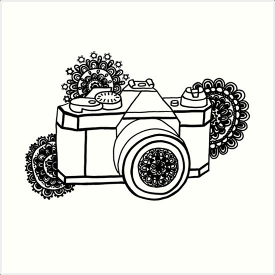 camera coloring pages - mandala camera art prints by sammyjodesigns redbubble