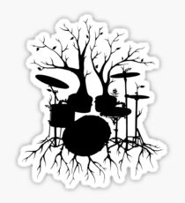 """Live the Beat to the Tempo of Creation"" ~ drum tree art , version1 Sticker"
