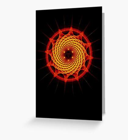 Merkaba Spiral Mandala Red   ( Fractal Geometry ) Greeting Card