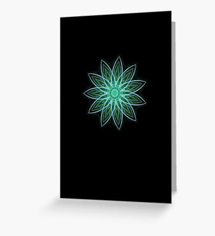 Fractal Flower - Green . Greeting Card