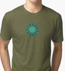 Fractal Flower - Green . Tri-blend T-Shirt