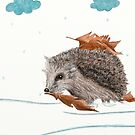 Little Hedgehog Is Hiding From Snow Under Leaves by Lucie Rovná