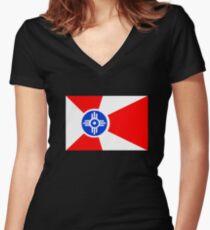 Flag of Wichita, Kansas. Women's Fitted V-Neck T-Shirt