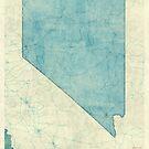 Nevada State Map Blue Vintage by HubertRoguski