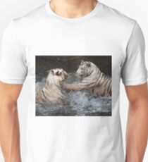 White Tigers Play Fighting T-Shirt