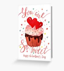 Valentine's day watercolor card Greeting Card