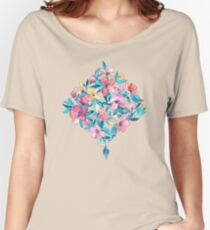 Teal Summer Floral in Watercolors Women's Relaxed Fit T-Shirt