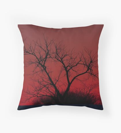 Red sky at night - Bare Tree Throw Pillow