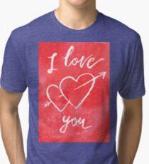 Valentines lettering card I love you Tri-blend T-Shirt