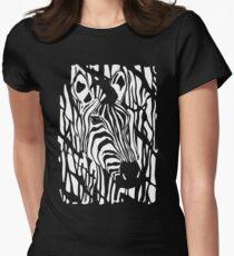 Zebra Project No.1- big logo white print Womens Fitted T-Shirt
