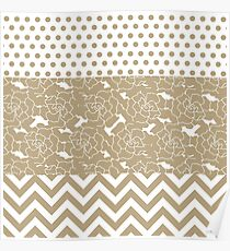 Elegant Taupe Flowers, Dots, and Zigzag  Poster