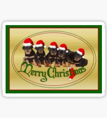 Vector Merry Christmas Rottweiler Puppies Greeting Card Sticker