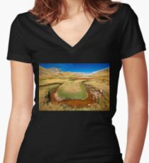 The birth of the ancient River - God Women's Fitted V-Neck T-Shirt