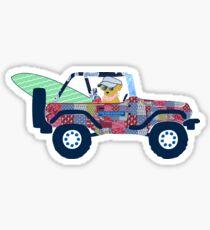 Preppy Jeep Golden Retriever Puppy - Beach Vacation Sticker