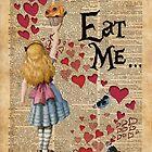 Alice in Wonderland,EAT ME.. Vintage Dictionary Art by DictionaryArt