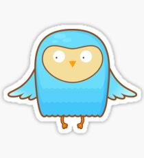 Funny Blue Cartoon Owl  Sticker