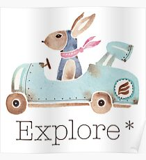 Motor bunny in watercolor Poster